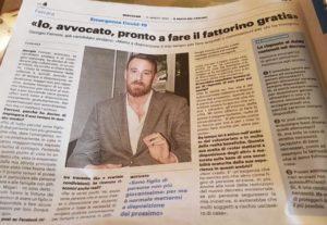 Il Giornale in cui si parla dell'avvocato Giorgio Ferroni fattorino